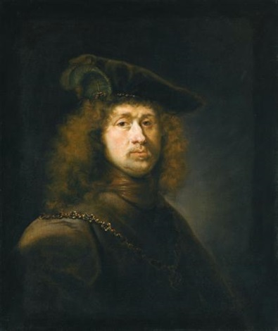 portrait of a man head and shoulders wearing a cap and chain by johann spilberg the younger