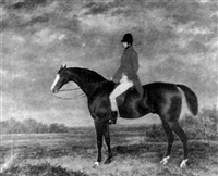 a huntsman on a bay thoroughbred in an extensive landscape by george morley