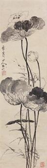 荷花(指画) 挂轴 水墨纸本 by luo qing