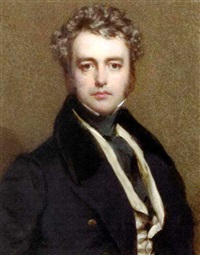 john gibson reeves, in black coat with velvet collar and gold buttons, buff coloured waistcoat and black stock, curling brown hair and sideburns by frederick cruickshank