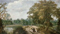 peasants and travelers on a path, a village beyond by willem van den bundel