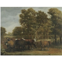 a landscape with cows and a herder by jan victors