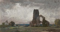 covehithe, suffolk (+ preparatory sketch, pencil, smllr; 2 works) by leonard russel squirrell