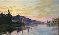 coucher de soleil sur un fleuve by paul françois louchet