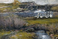 geese by a mill pond by william edwin atkinson