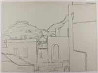 oyster bay long island * italian landscape * castle (3 works, incl. 1 in pencil, various sizes) by jared french