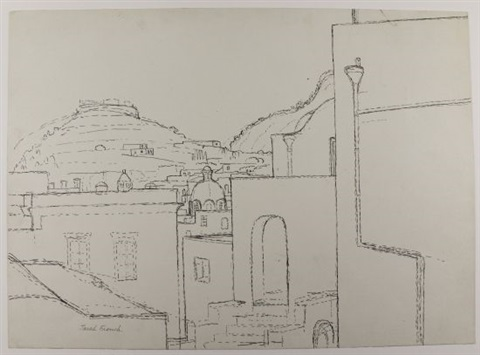 oyster bay long island italian landscape castle 3 works incl 1 in pencil various sizes by jared french
