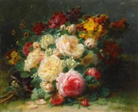 a bouquet of cabbage roses by jean-baptiste robie