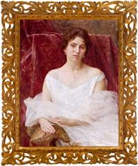 bildnis einer dame in weißem kleid by vlacho bukovac