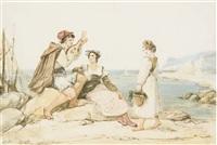 un joueur de mandoline accompagné de deux jeunes femmes sur la côte napolitaine by jean alaux