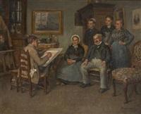 l'artiste faisant le portrait d'une fière famille by léon marie constant dansaert