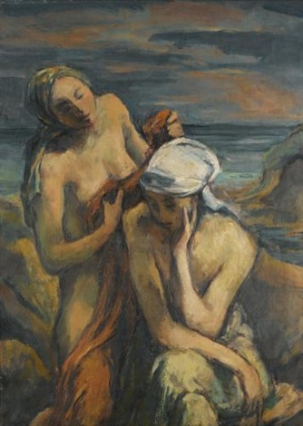 abend zwei badende frauen evening two bathers by karl hofer