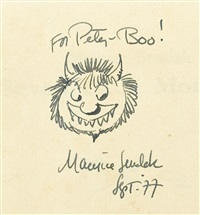 two ink drawings of wild thing characters (2 works) by maurice sendak