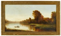 river scene with boat by elbridge wesley webber
