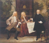 an elegant interior with a portrait of two gentlemen and a clerk, a wooded landscape visible beyond by jan maurits quinkhardt