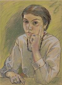 porträt einer jungen frau (+ liegende frau, color woodcut, smaller; 2 works) by paul gangolf