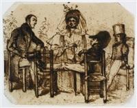 karikatur. familienszenerie: die eltern mit zwei halbwüchsigen söhnen, welche sich auf ihren stühlen flegeln by jean ignace (isidore gérard) grandville