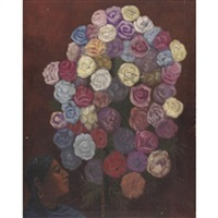 retrato con flores by olga costa