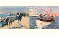 scène de port (+ another, larger, oil on panel; 2 works) by jacques-marie omer camoreyt