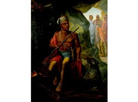 portrait of an american indian seated in a cave by a fire, three distant figures by charles wimar