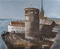 der düsseldorfer schlossturm und st. lambertus mit dem rheinufer by richard gessner