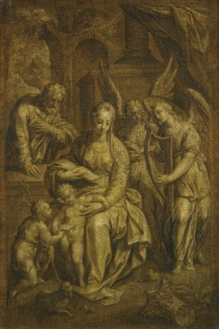 holy family with angels by hendrick de clerck
