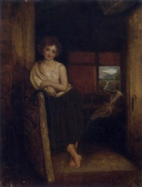 a peasant girl in a rustic interior by henry robert morland