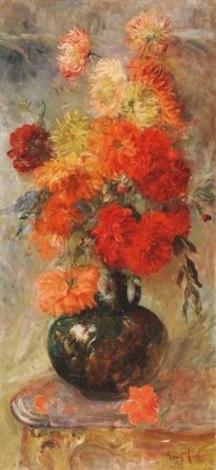 bouquet de fleurs sur un entablement by louis piot
