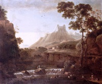 an italianate landscape with milkmaids watering their livestock in the foreground, a waterfall, a castle and mountains beyond by bartholomeus appelman