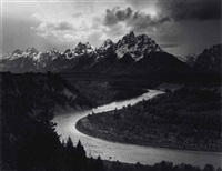 the tetons and snake river, grand teton national park, wyoming, 1942 by ansel adams