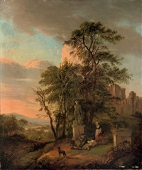 an italianate river landscape with figures resting near a classical sculpture, ruins in the background by pietersz (pieter) barbiers
