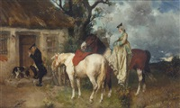 riders at a cottage door by hans buettner