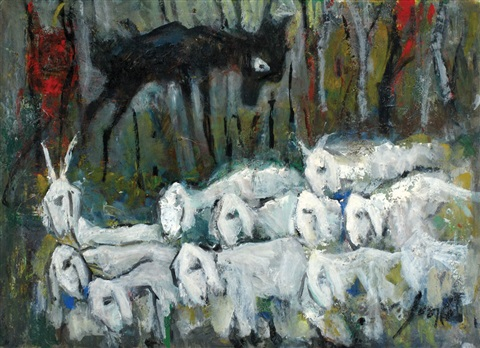 landscape with goats by marcel janco