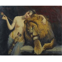 the goddess diana with a lion by angelo comte de courten