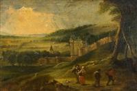 paysage de château et figures by lucas van uden