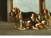 hounds in the kennel by alfred duke