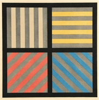 lines in four directions, with alternating color and gray bands by sol lewitt