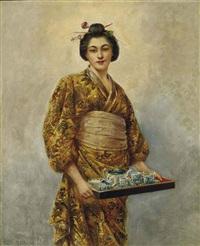 japonaise tenant un service à thé dans un plateau by george dunlop leslie