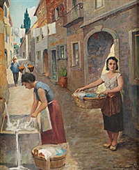 sydländsk gata med kvinnor by philippe de rougemont