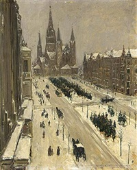view of the tauenzienstrasse, berlin by carel nicolaas storm van 's-gravensande