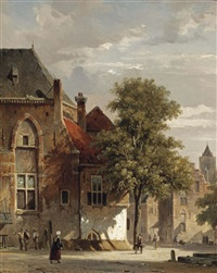view of belgium: villagers in a sunlit town by adrianus eversen