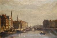 a dutch harbor scene by john frederik hulk the younger