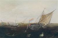 fischerboote auf bewegter see by hendrik cornelisz vroom