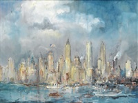 view of the new york skyline by maxim kopf