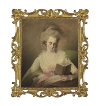 a young lady in a white dress with pink bows, seated at a table, reading a book by rev. matthew william peters