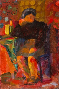 siedząca postać na wzorzystym tle by jerzy ryszard zieliñski