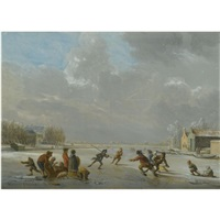 winter landscape with skaters on a frozen lake by vincent jans van der vinne
