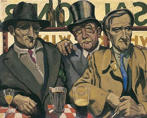 in davys parlour snug self portrait with davy byrne and martin murphy by harry kernoff