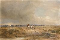 figures on a track on a windy day, cattle beyond by david cox the elder