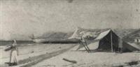 pescadora caminando por la playa junto al campamento by francisco gutierrez rivera